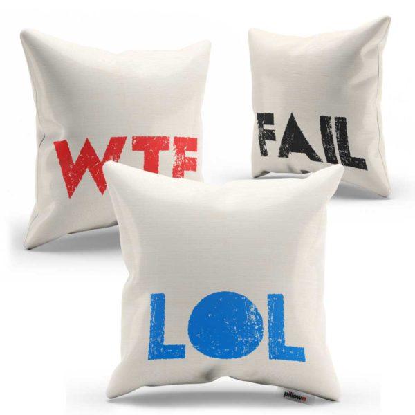 Sada vankúšov s vtipnými nápismi WTF FAIL LOL za zvýhodnenú cenu v rôznych farebných kombináciách