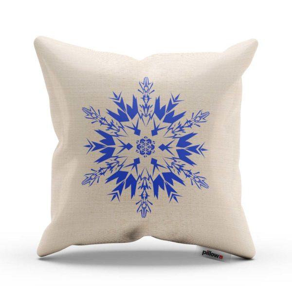 Biely vankúš s modrým Vianočným vzorom