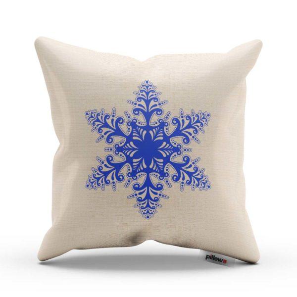 Biely vankúš s modrou Vianočnou vločkou