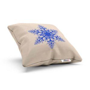 Biely vankúšik a modrá Vianočná vločka