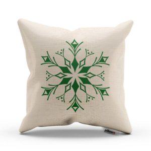 Biely vankúš so zelenou Vianočnou vločkou