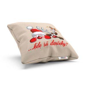 """Vianočný vankúšik s vtipným nápisom """"kde sú darčeky?"""""""