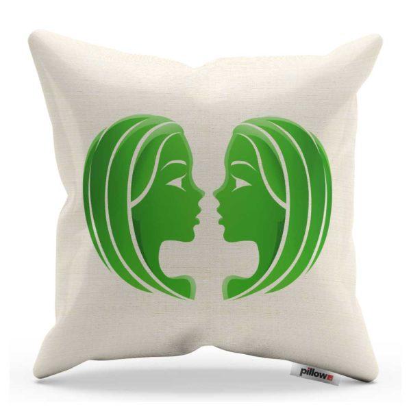 Vankúš blíženci v bielej farbe so zeleným symbolom z bavlny