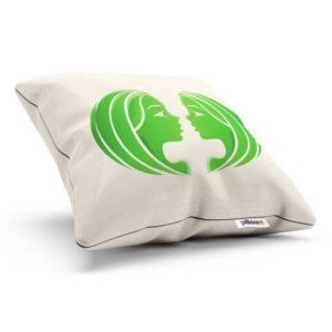 Vankúšik so znamením blíženci v bielej farbe so zeleným symbolom z bavlny