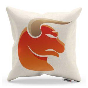 Biely bavlnený vankúš s oranžovým obrázkom znamenia zverokruhu býk