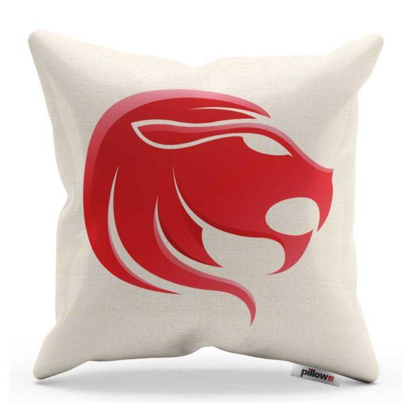 Dekoračný vankúš so Znamením Lev biely s červeným symbolom