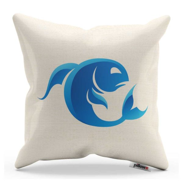 Znamenie ryby modrej farby na kvalitnom bavlnenom vankúšiku