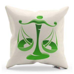 Vankúš bielej farby so zeleným obrázkom horoskopu znamenia váhy vypracovaný z kvalitnej bavlny