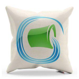 Dekoračný vankúš biely s modro zelenou aplikáciou znamenia horoskopu vodnár